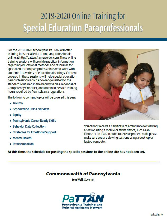 Online Training for Special Education Paraprofessionals