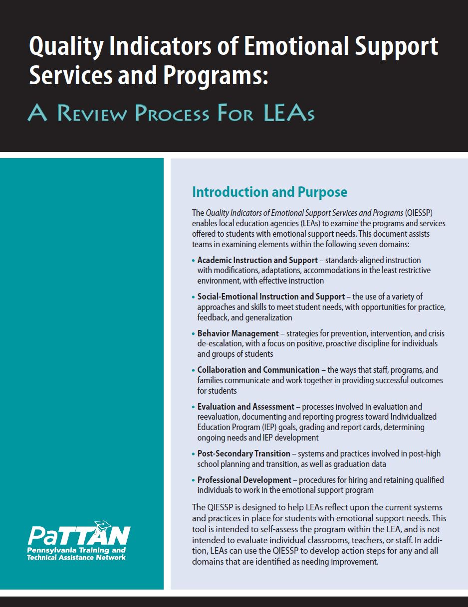Quality Indicators of Emotional Support Services and Programs (Fillable Form)