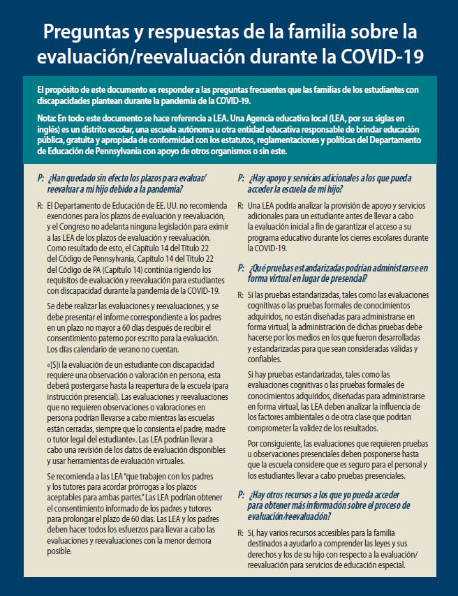Family Q&A on Evaluation/Reevaluation During COVID-19 (Spanish)