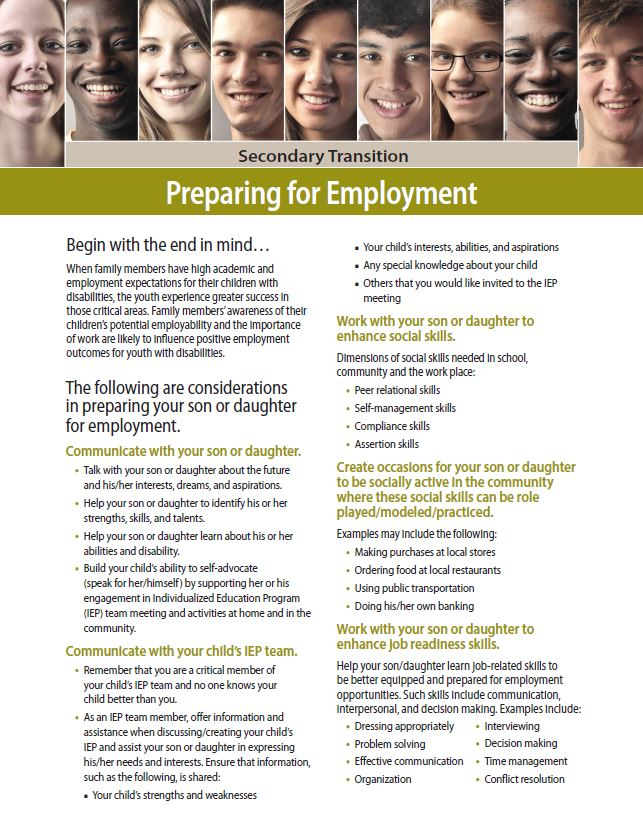 Secondary Transition: Preparing for Employment