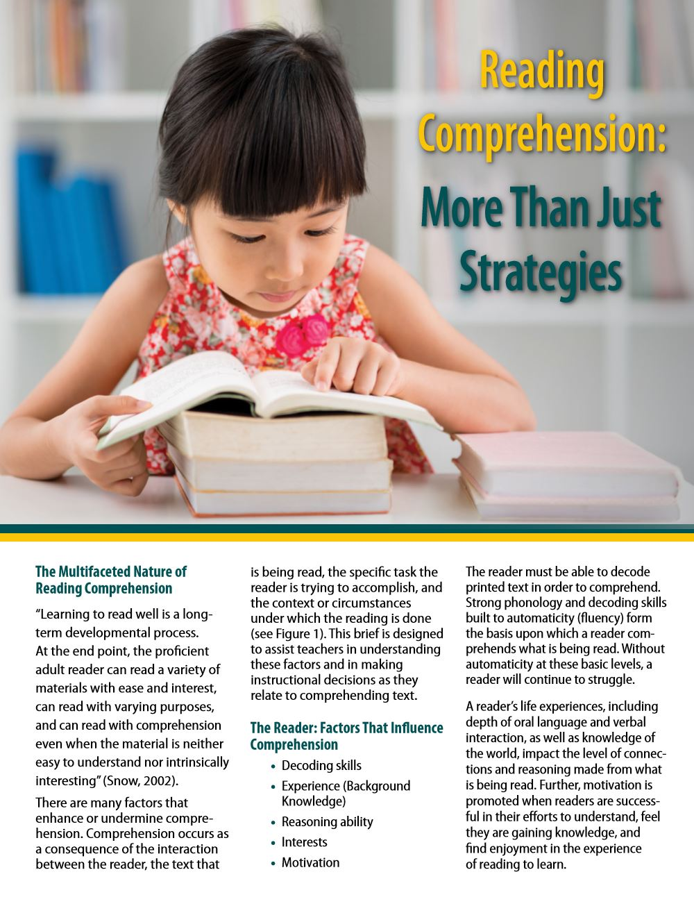 Reading Comprehension: More than Just Strategies