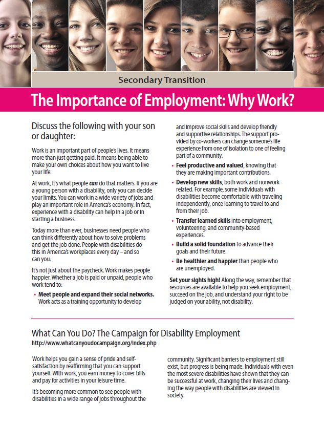 Secondary Transition: The Importance of Employment - Why Work?