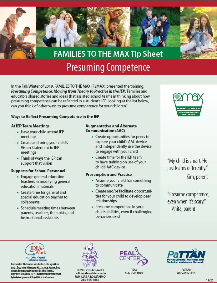 Families to the MAX Tip Sheet: Presuming Competence