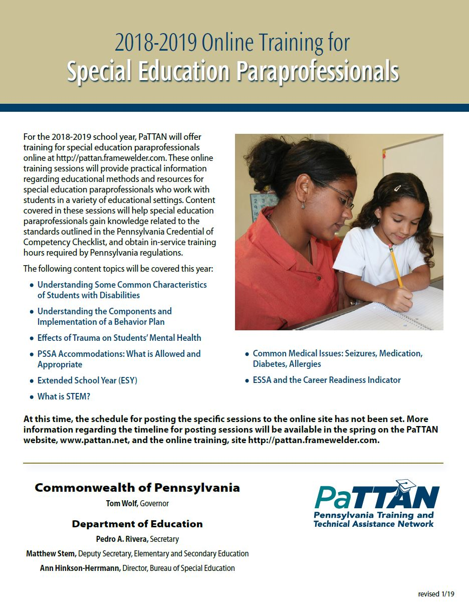 Special Education Training Efforts To >> Pattan Online Training For Special Education Paraprofessionals