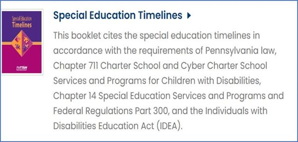 Special-Education-TImelines image. Clicking on the image will take you to its PaTTAN Publication page.