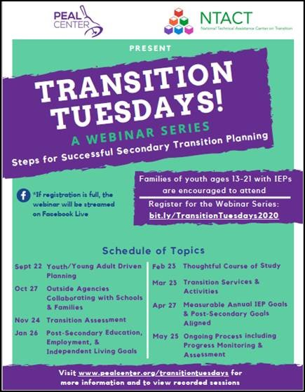 Transition Tuesdays A Webinar series flyer. Click on image to take you to PDF