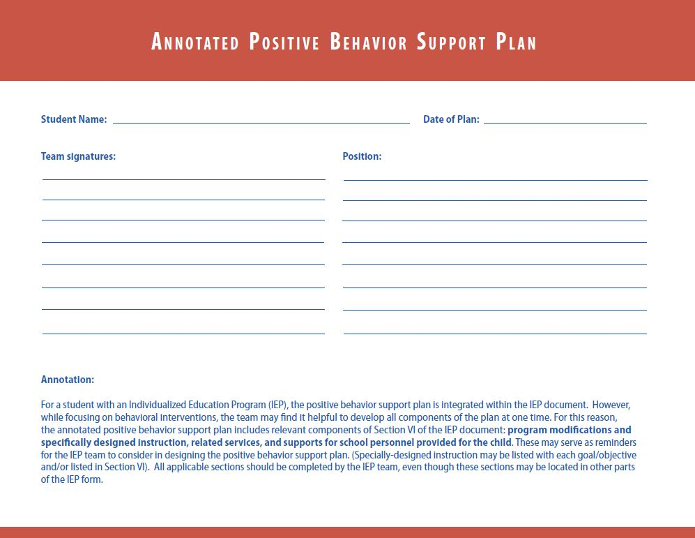 Annotated Positive Behavior Support Plan