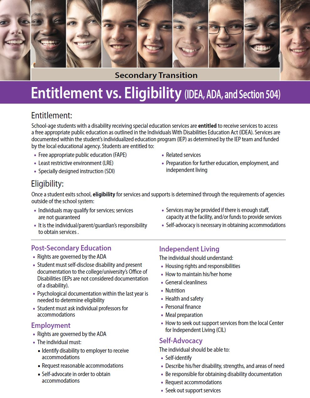 Secondary Transition: Entitlement vs. Eligibility