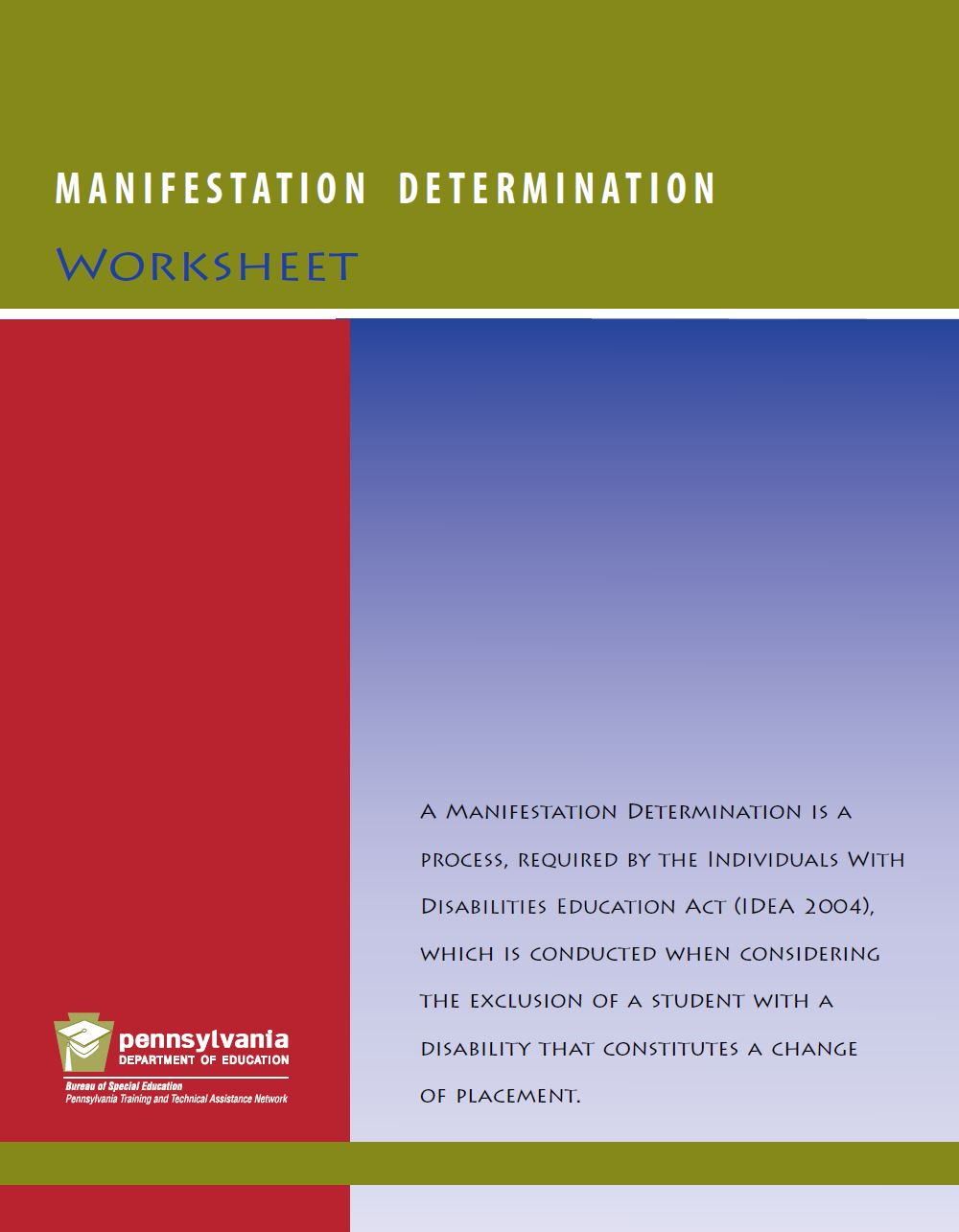 Manifestation Determination Worksheet