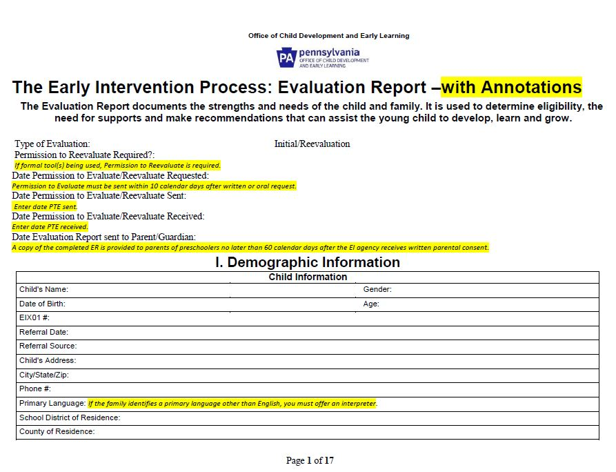 Preschool Early Intervention Evaluation Report – Annotated