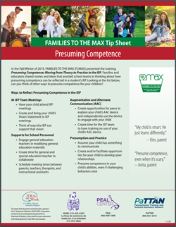 image of the FAMILIES TO THE MAX TIP SHEET: Presuming Competence. Click on image to go to https://www.pattan.net/Publications/Families-to-the-MAX-Tip-Sheet-Presuming-Competence