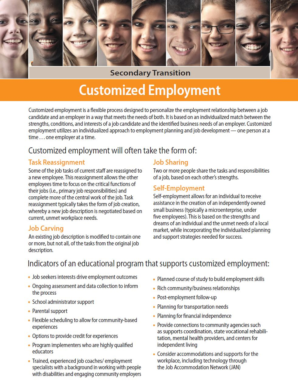Secondary Transition: Customized Employment