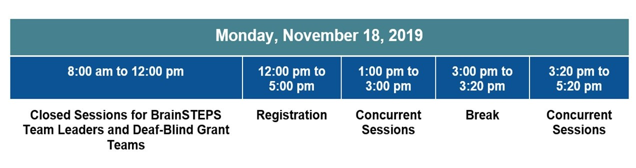 Schedule for Monday, November 18, 2019 8:00 am to 12:00 pm Closed Sessions for BrainSTEPS Team Leaders and Deaf-Blind Grant Teams, 12:00 pm to 1:00 pm  Registration, 1:00 pm to 3:00 pm  Concurrent Sessions, 3:00 pm to 3:20 pm Break, 3:20 pm to 5:20 pm  Concurrent Sessions