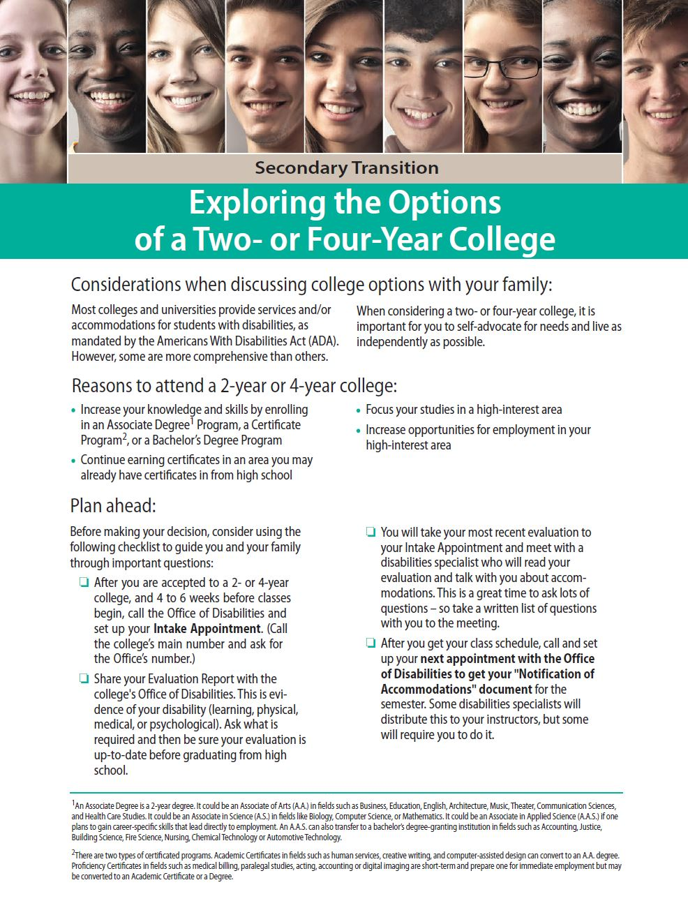 Secondary Transition: Exploring the Options of a Two- or Four-Year College