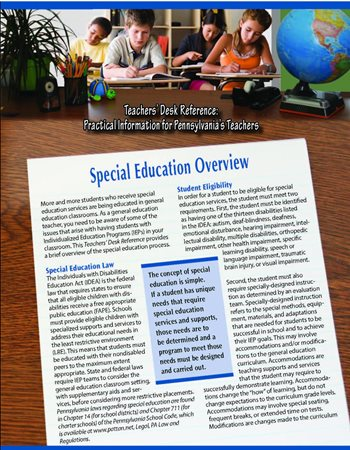 Image of the Teacher Desk Reference: Practical Information for Pennsylvania's Teachers Special Education Overview.Clicking on the image will take you to the Publication page on the PaTTAN Website