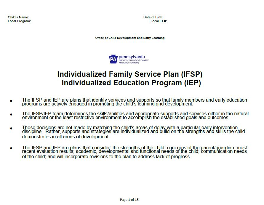Individualized Family Service Plan/Individualized Education Program (IFSP/IEP) - Early Intervention cover image