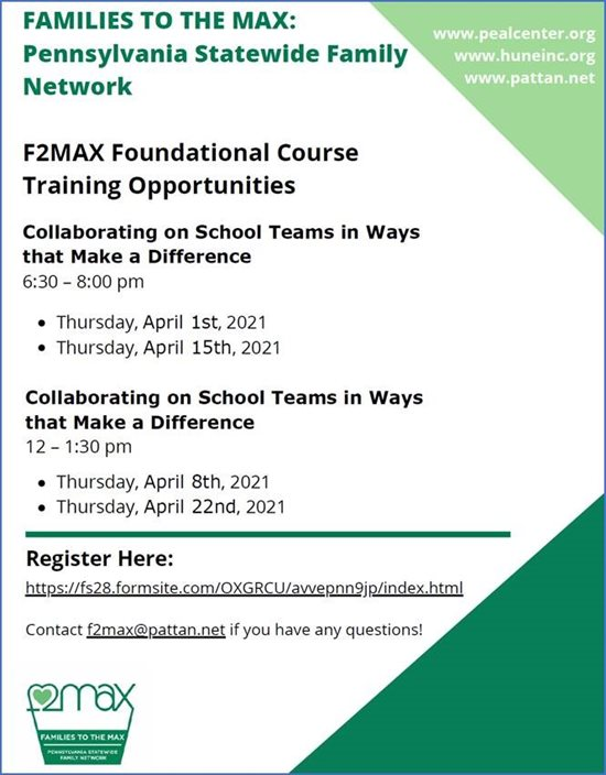 F2MAX Foundational Course Training Opportunities image. Click on image to go to https://fs28.formsite.com/OXGRCU/avvepnn9jp/index.html