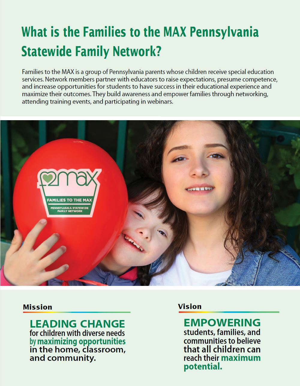 What is the Families to the MAX Pennsylvania Statewide Network?