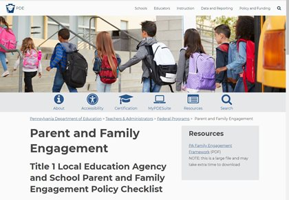 PDE Parent and Family Engagement Webpage image