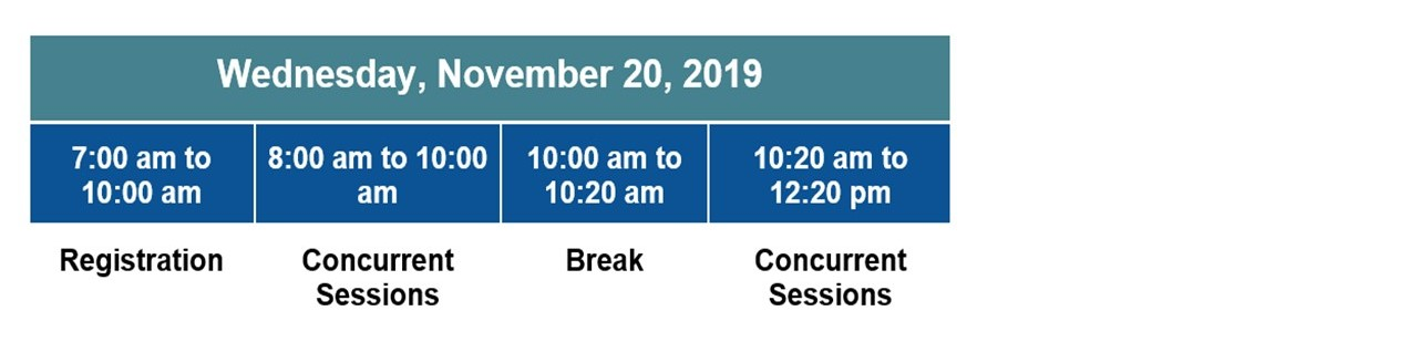 Schedule for Wednesday, November 20, 2019 7:00 am to 10:00 am Registration, 8:00 am to 10:00 am Concurrent Sessions, 10:00 am to 10:20 am  Break, 10:20 am to 12:20 pm Concurrent Sessions