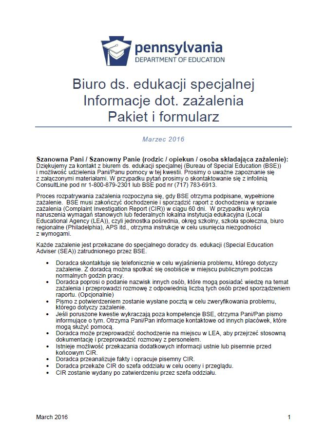 Bureau of Special Education Complaint Information Packet and Form - Polish