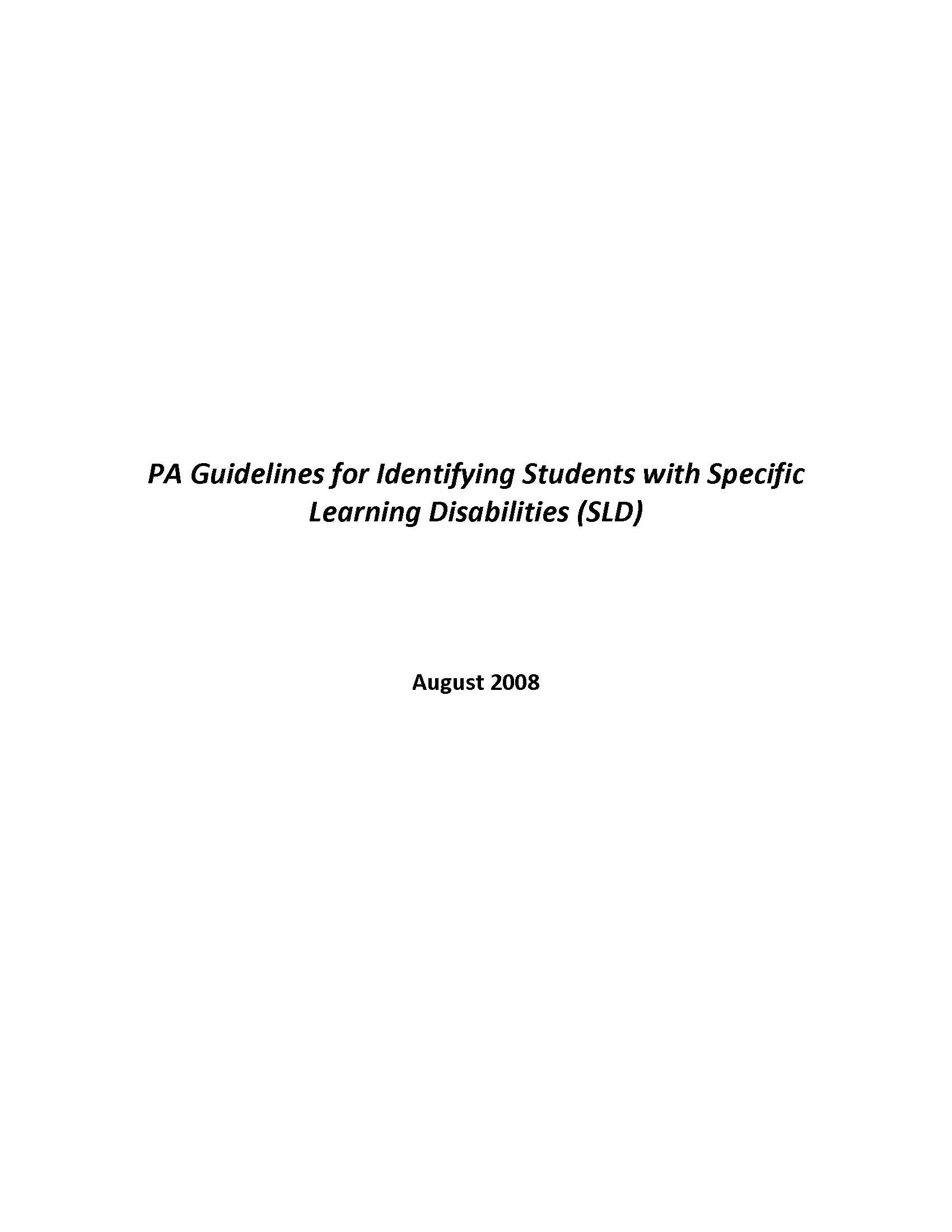 PA Guidelines for Identifying Students with Specific Learning Disabilities (SLD)