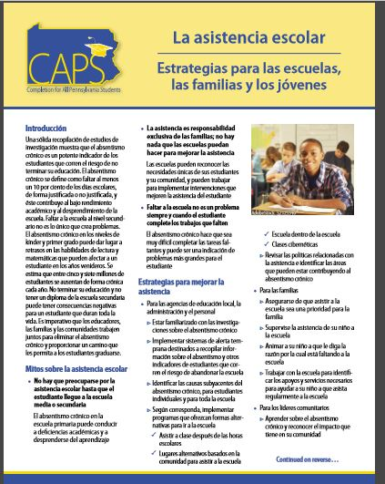 CAPS School Attendance: Strategies for Schools, Families, and Youth (Spanish)