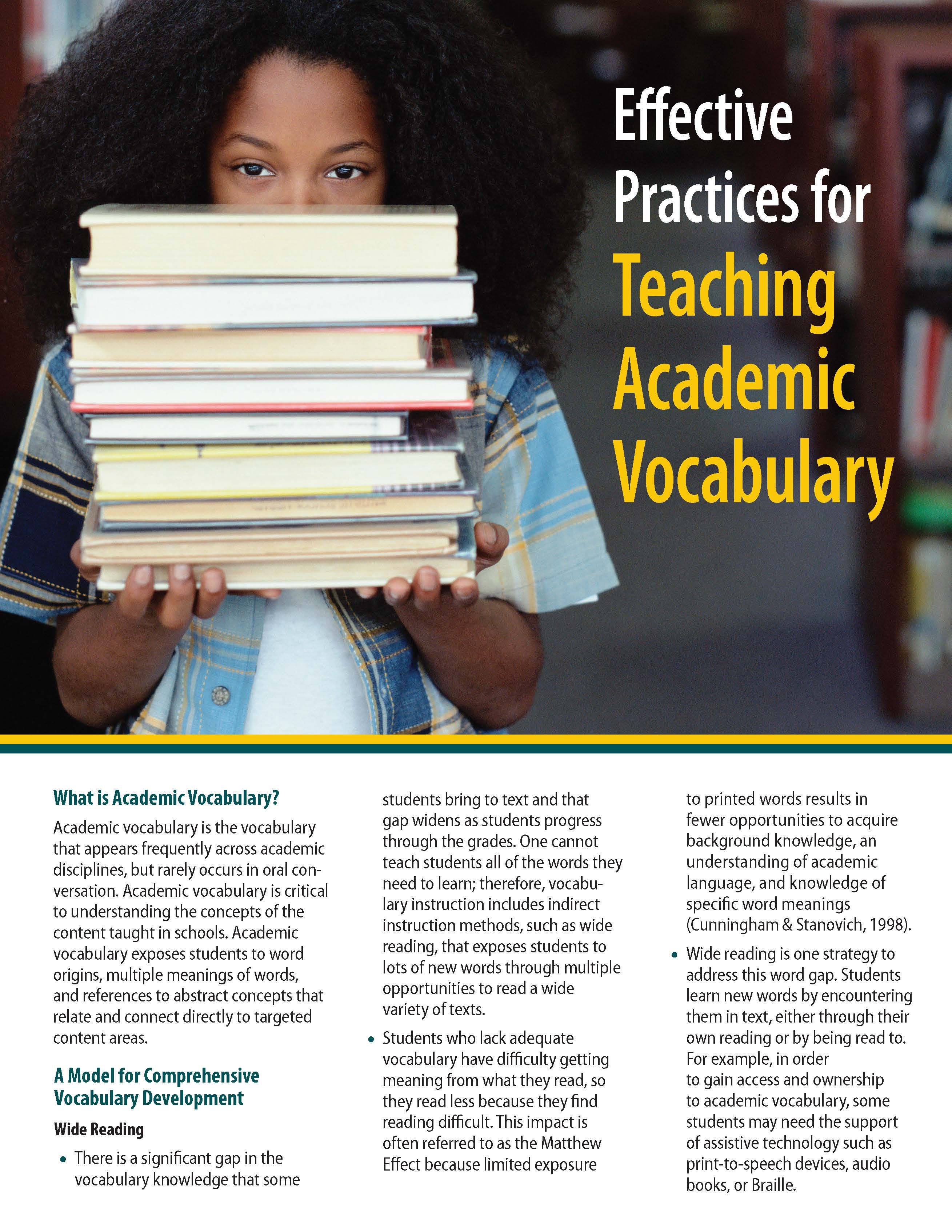 Effective Practices for Teaching Academic Vocabulary