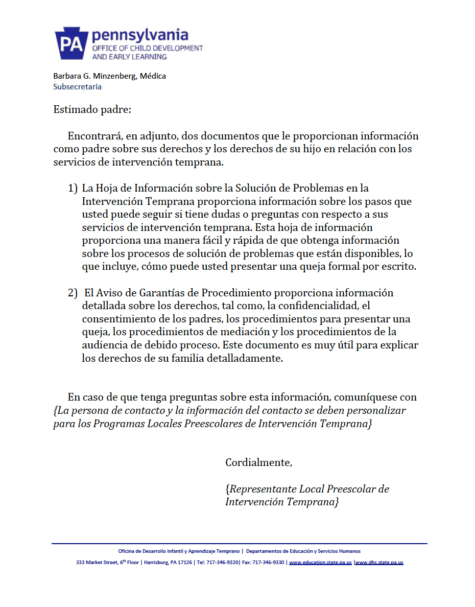 Procedural Safeguards Letter - Preschool Early Intervention Spanish