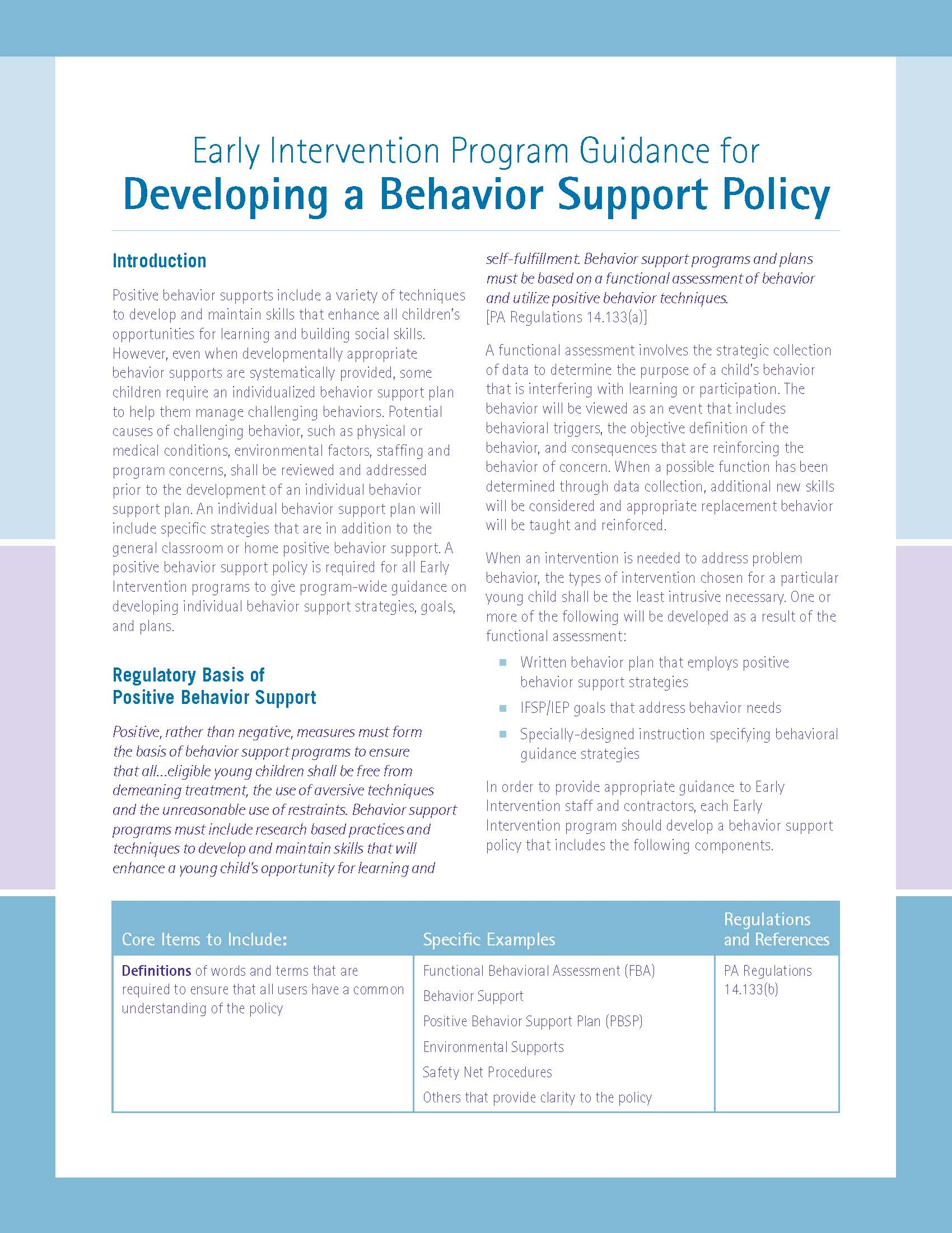 Early Intervention Program Guidance for Developing a Behavior Support Policy