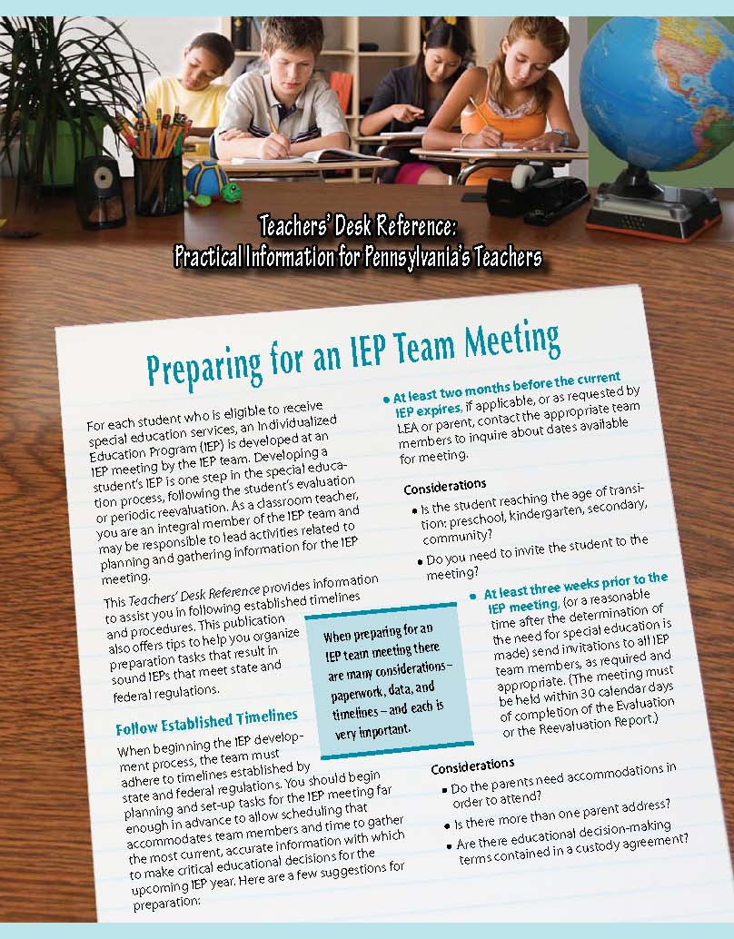 Teachers' Desk Reference: Preparing for an IEP Team Meeting
