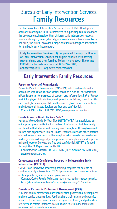 Bureau of Early Intervention Services Family Resources
