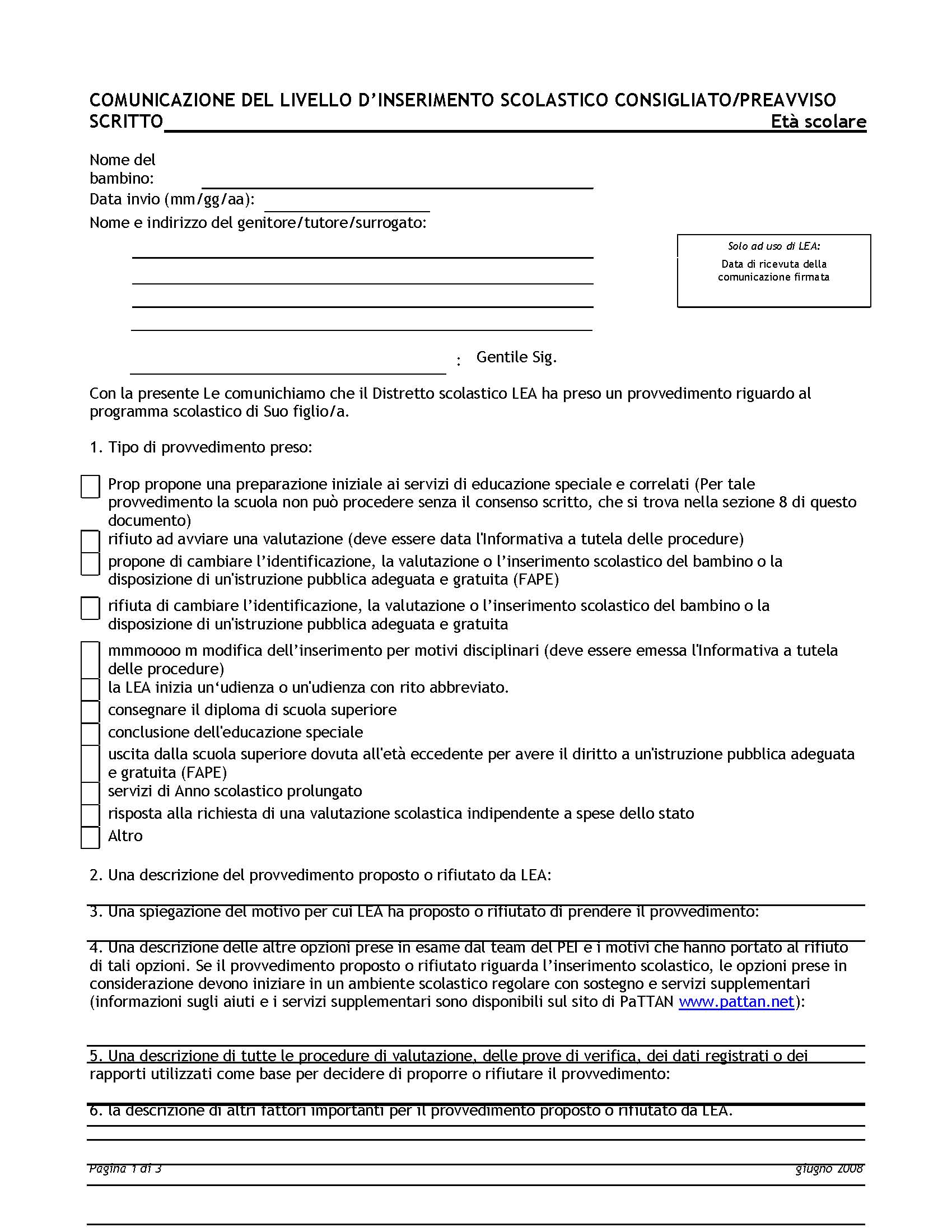 NOTICE OF RECOMMENDED EDUCATIONAL PLACEMENT/PRIOR WRITTEN NOTICE (NOREP/PWN) - School Age - Italian