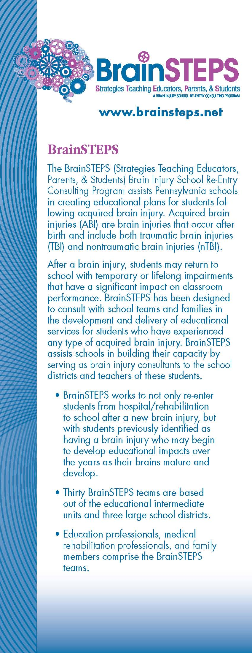 BrainSTEPS Brochure (Strategies Teaching Educators, Parents, and Students)