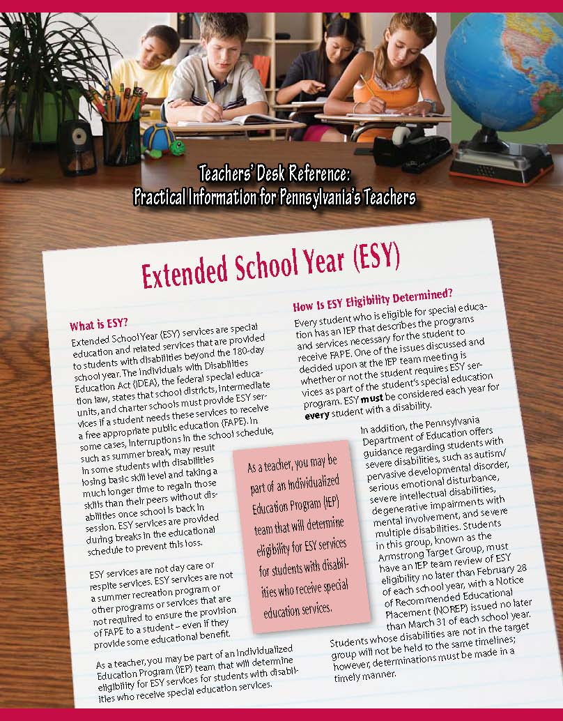 Teachers' Desk Reference: Extended School Year (ESY)