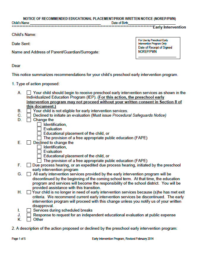 NOTICE OF RECOMMENDED EDUCATIONAL PLACEMENT/PRIOR WRITTEN NOTICE (NOREP/PWN) - Preschool Early Intervention