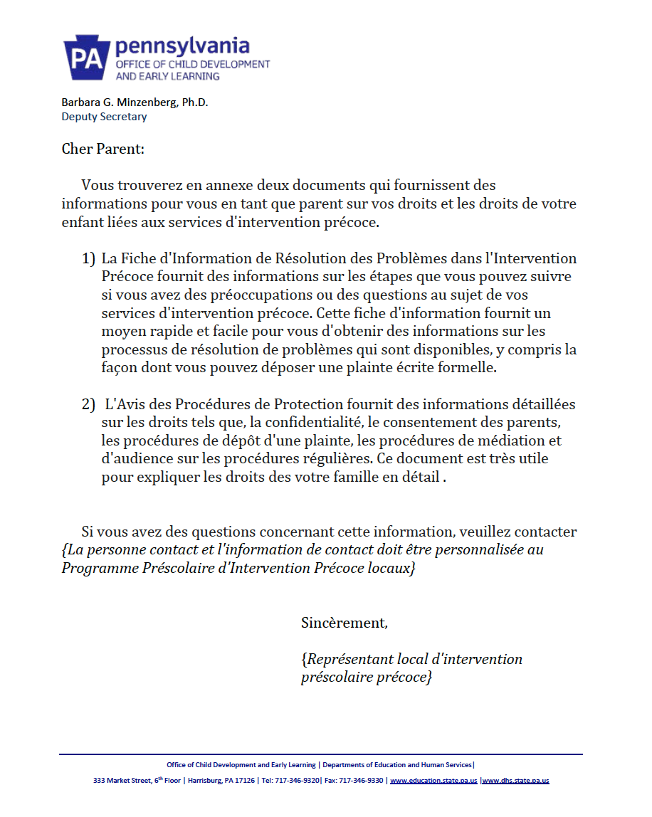 Procedural Safeguards Letter - Preschool Early Intervention French Version