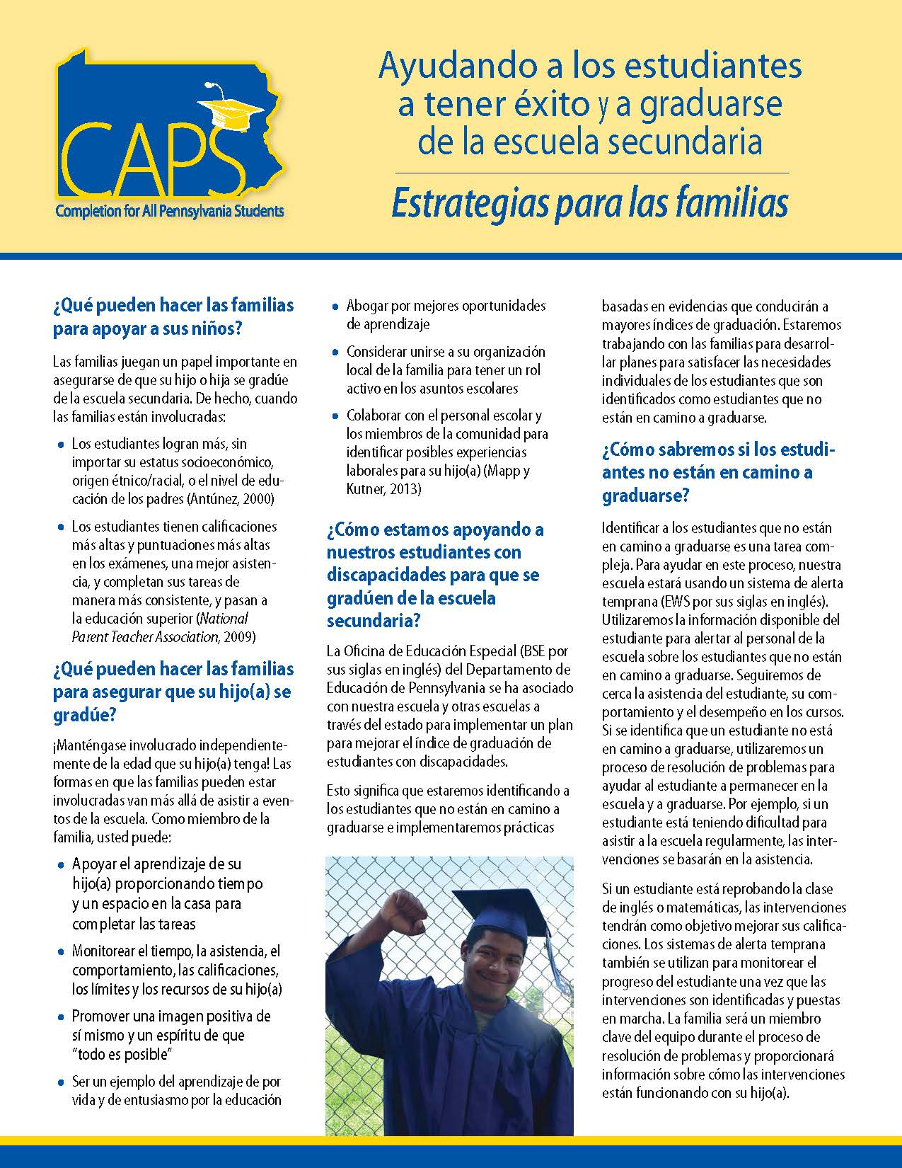 CAPS: Helping Students Succeed and Graduate From High School - Strategies for Families (Spanish)