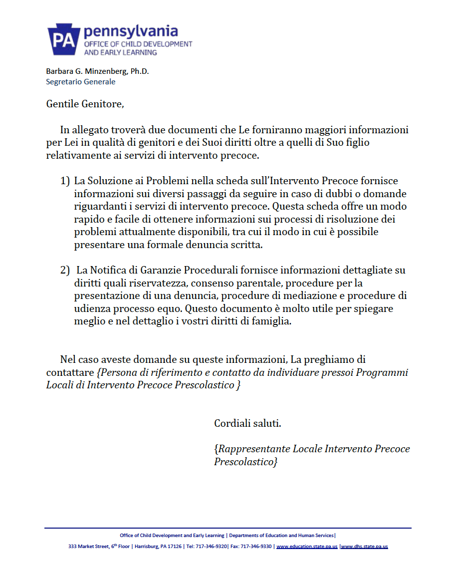 Procedural Safeguards Letter - Preschool Early Intervention Italian