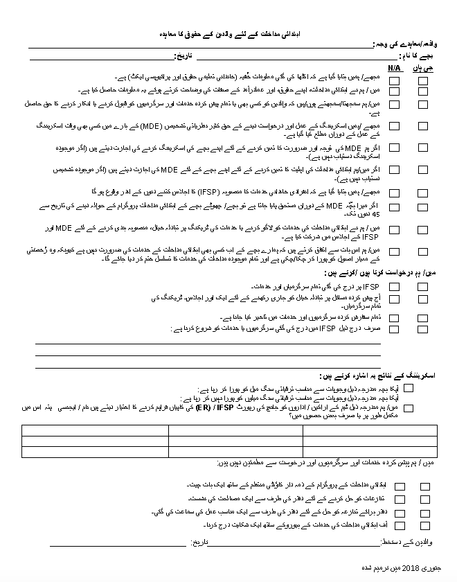Parent Rights Agreement - Urdu Version