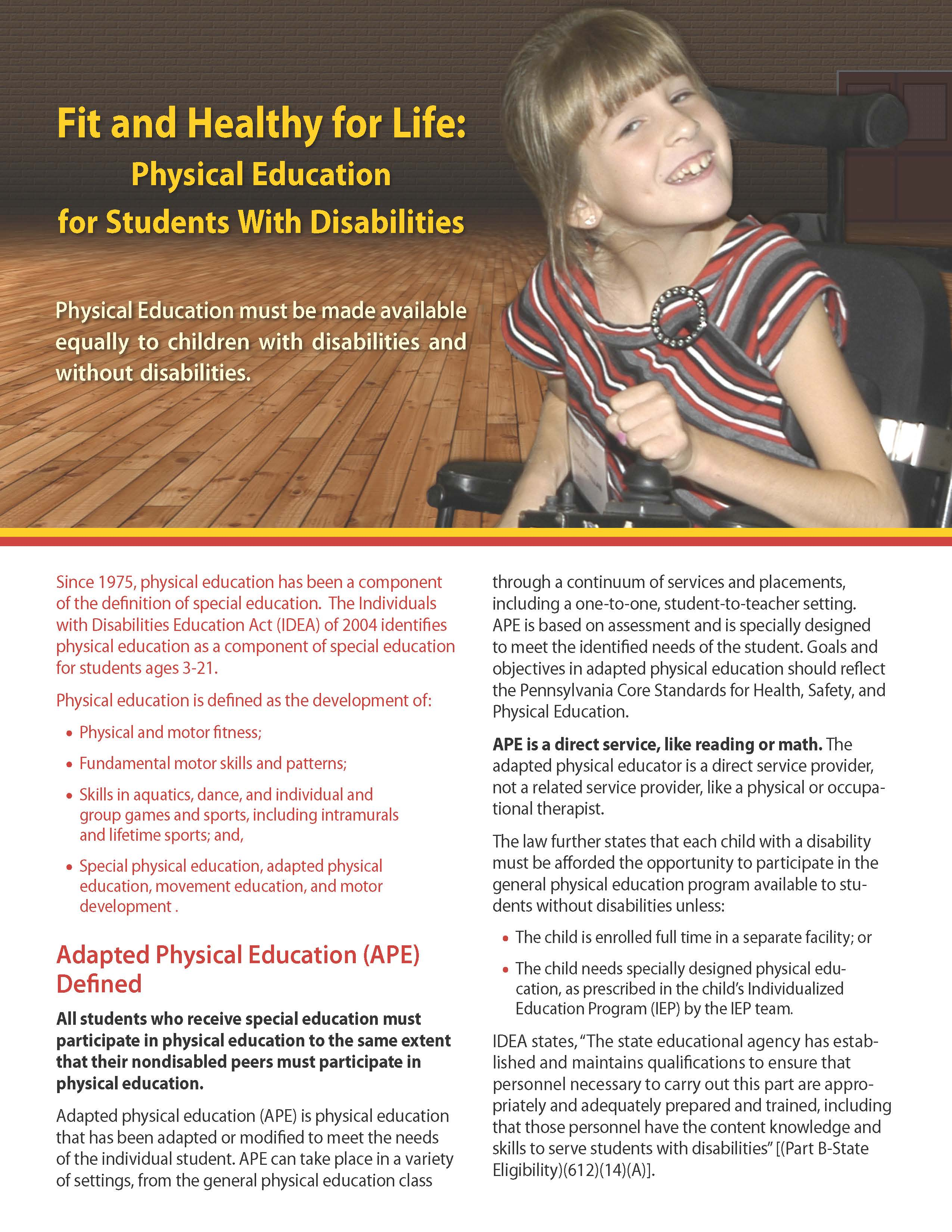 Fit and Healthy for Life: Physical Education for Students With Disabilities