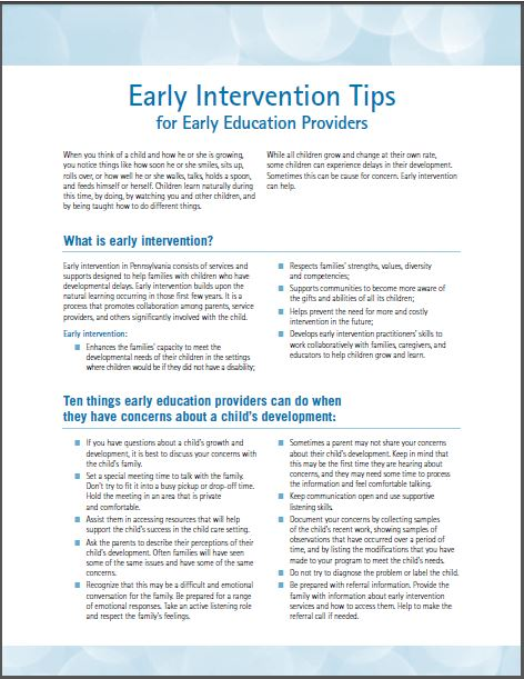 Early Intervention Tips for Early Education Providers
