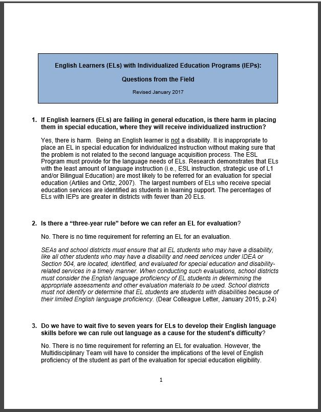 English Learners (ELs) with Individualized Education Programs (IEPs): Questions from the Field