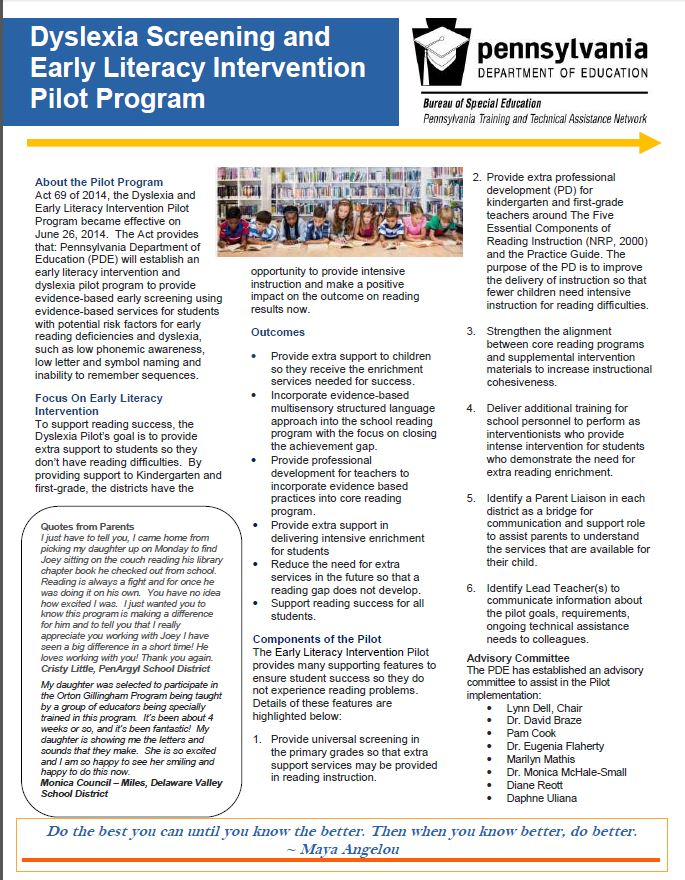 Pattan Dyslexia Screening And Early Literacy Intervention Pilot