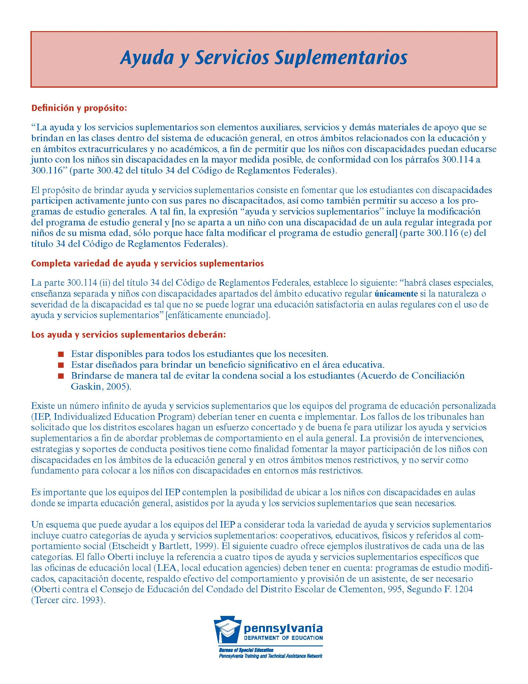 Supplementary Aids and Services (Spanish)