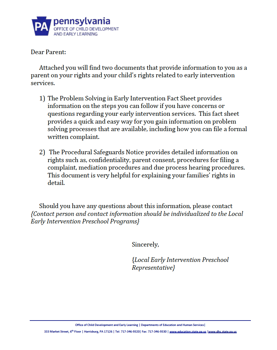 Procedural Safeguards Letter - Preschool Early Intervention