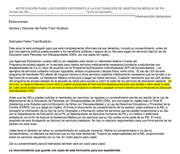 Pennsylvania Medical Assistance Billing Parental Notice - Annotated - Spanish VERSION