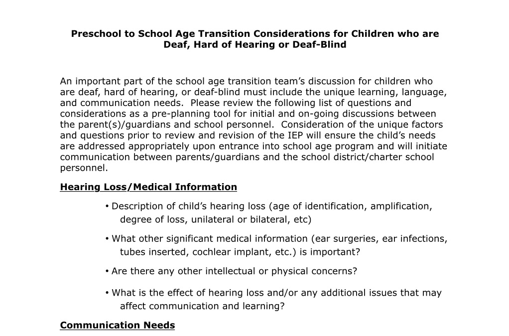 Preschool to School Age Transition Considerations for Children who are Deaf, Hard of Hearing or Deaf-Blind