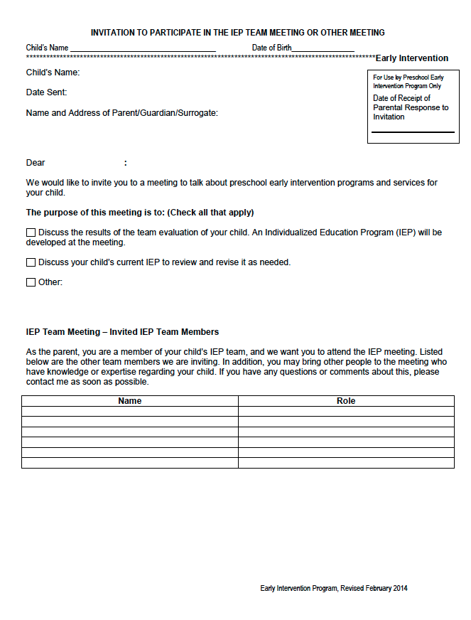INVITATION TO PARTICIPATE IN THE IEP TEAM MEETING OR OTHER MEETING – Preschool Early Intervention
