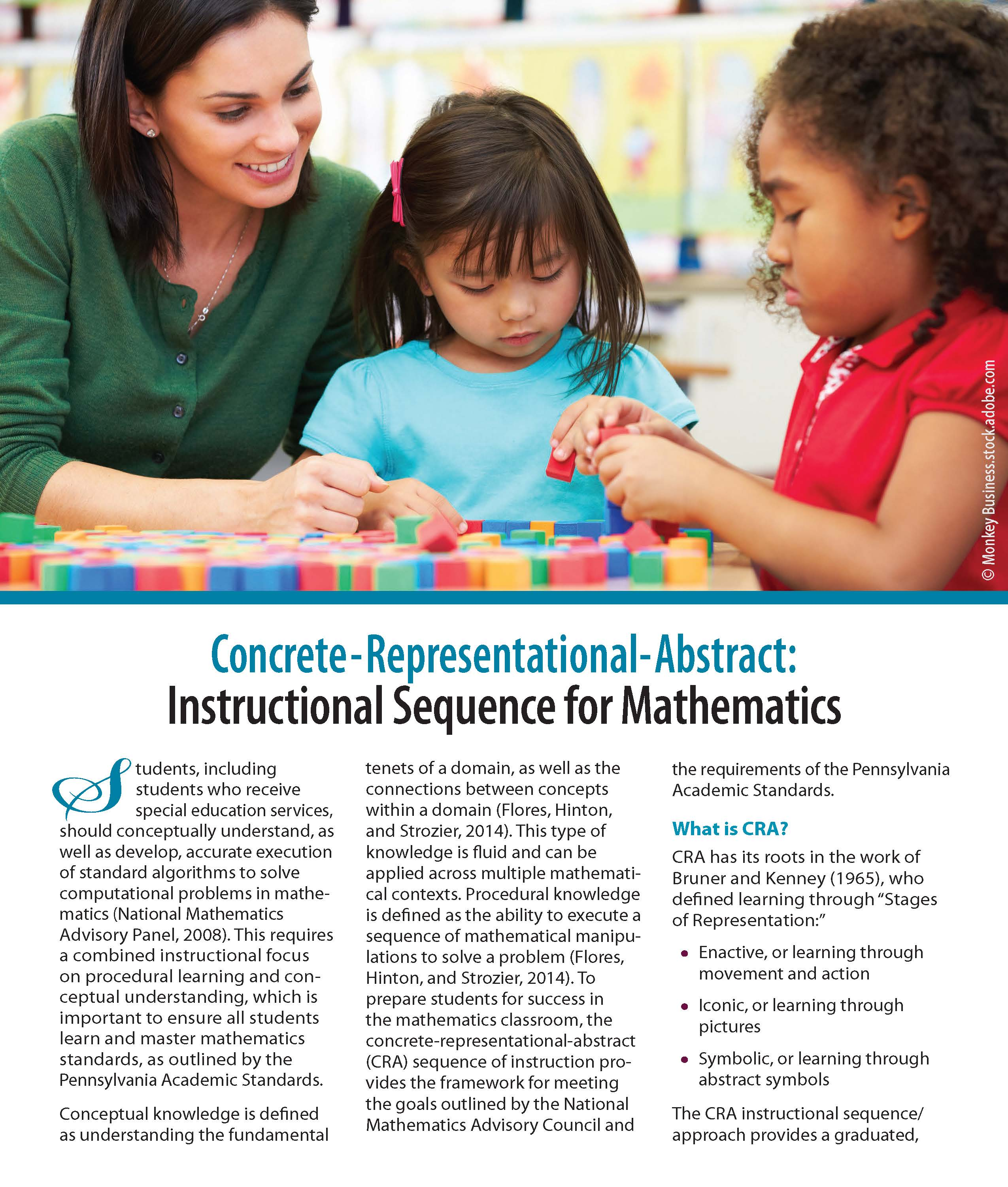 Concrete-Representational-Abstract (CRA): Instructional Sequence for Mathematics